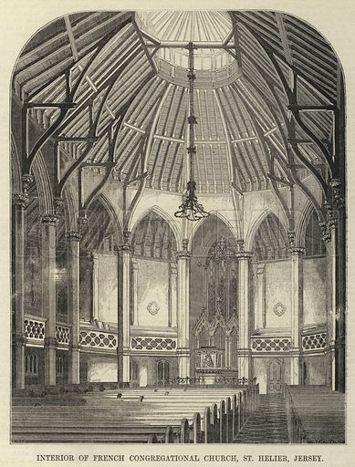 Interior of French Congregational Church, St Helier, Jersey. Illustration for The Builder, 17 November 1855.
