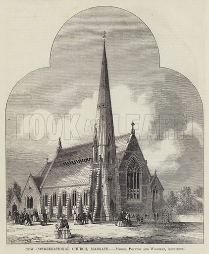 New Congregational Church, Margate, Messrs Poulton and Woodman, Architects. Illustration for The Builder, 25 December 1858.