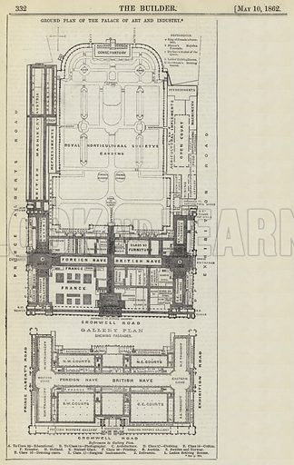 Ground Plan of the Palace of Art and Industry. Illustration for The Builder, 10 May 1862.