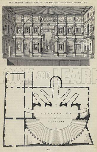 The Olympian Theatre, Vicenza, the Scene, Andrea Palladio, Architect, 1580. Illustration for The Builder, 12 December 1863.