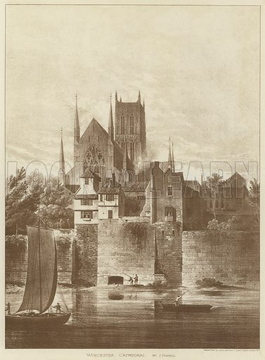 Worcester Cathedral. Illustration for The Building News, 14 February 1896.