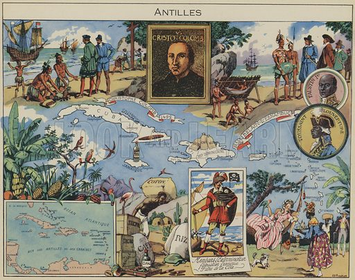 Antilles. Illustration for L'Epanouissement du Monde (Blonder La Rougery, 1948).