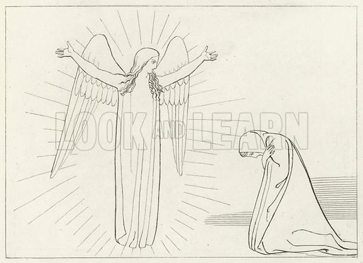 The Salutation, Purgatory, Canto 10. From Illustrations of The Divine Poem of Dante Alighieri by John Flaxman (Bell and Daldy, 1867).