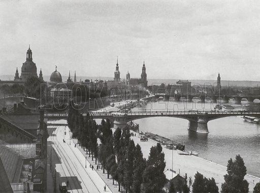 Dresden, von der Albertbrucke aus Gesehen. Illustration for Das Deutsche Reich In Wort Und Bild (Gustav Lange, c 1905).