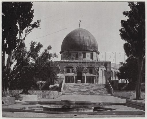 Jerusalem, Mosque d'Omar, exterior view. Illustration for Album de Terre Sainte (Holy Land Album) (Maison de la Bonne Presse, c 1900).