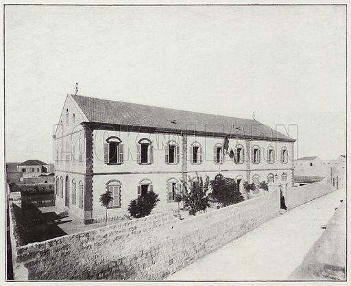 Kaifa, School of the Brothers of the Christian Schools. Illustration for Album de Terre Sainte (Holy Land Album) (Maison de la Bonne Presse, c 1900).