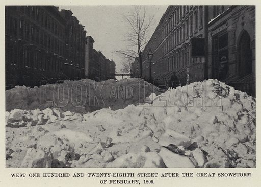 West One Hundred and Twenty-Eighth Street after the Great Snowstorm of February 1899. Illustration for The New Metropolis edited by E Idell Zeisloft (D Appleton, 1899).