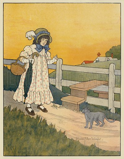 Pussy-Cat And Queen. Illustration for The Real Mother Goose (Harrap, c 1916).