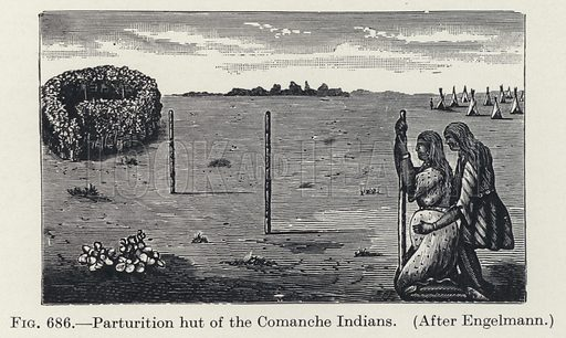 Parturition hut of the Comanche Indians. Illustration for Woman, An Historical, Gynaecological and Anthropological Compendium, by Herman Heinrich Ploss, Max Bartels and Paul Bartels, edited by Eric John Dingwall (Heinemann, 1935).