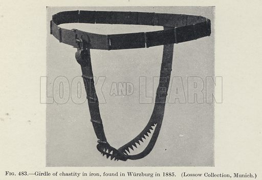 Girdle of chastity in iron, found in Wurzburg in 1885. Illustration for Woman, An Historical, Gynaecological and Anthropological Compendium, by Herman Heinrich Ploss, Max Bartels and Paul Bartels, edited by Eric John Dingwall (Heinemann, 1935).
