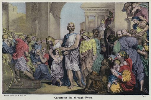 Caractacus led through Rome. Illustration for The Young Briton's History Reader (Collins, 1905).