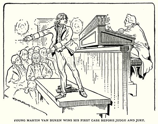 Young Martin Van Buren wins his first case before judge and jury. Illustration for The Story of Our Presidents by Charles Morris (c 1900).
