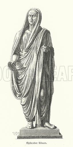 Roman priest responsible for carrying out sacrifices. Illustration from Hellas und Rom, eine Kulturgeschichte des Classischen Alterthums, by Jakob von Falke (W Spemann, Stuttgart, c1878).
