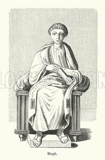 Virgil (70-19 BC), Roman poet. Illustration from Hellas und Rom, eine Kulturgeschichte des Classischen Alterthums, by Jakob von Falke (W Spemann, Stuttgart, c1878).
