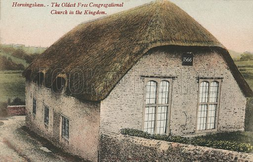 Oldest Free Congregational Church in the United Kingdom, Horningsham, Wiltshire. Postcard, early 20th century.