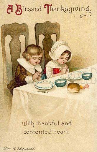 Two children praying at the dinner table: Thanksgiving greetings card