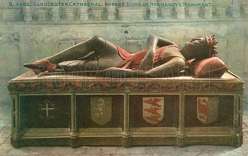 Robert, Duke of Normandy's Monument, Gloucester Cathedral, Gloucestershire. Postcard, early 20th century.