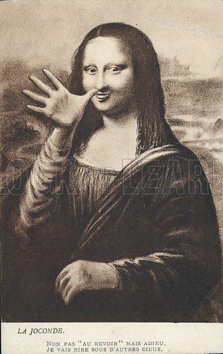 Mona Lisa making a rude gesture