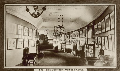 Print Corridor, Welbeck Abbey, Nottinghamshire. Postcard, early 20th century.