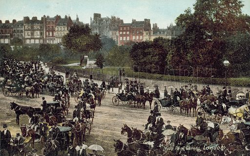 Horse-drawn carriages at Hyde Park Corner, London