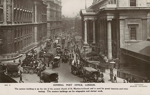 General Post Office, London. Postcard, early 20th century.