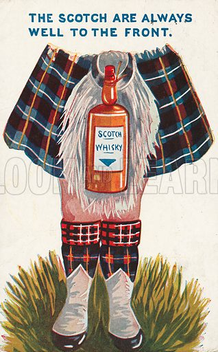 National stereotypes: a Scotsman in Highland dress with a bottle of whisky tied to his sporran