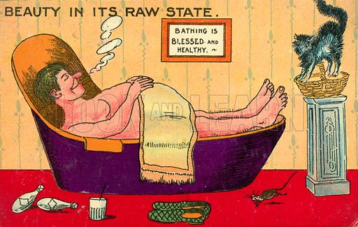 Obesity and laziness: a fat man relaxing in his bathtub. Postcard, early 20th century.
