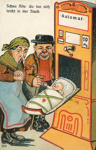 Newborn baby emerging from a vending machine
