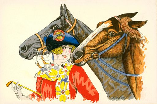 Coquettish, colourfully dressed woman wearing a beret with a rosette on it, with two horses