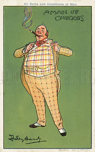 A man of cheques: a fat wealthy man wearing a checked suit
