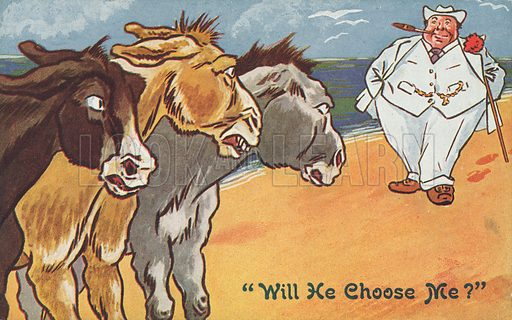 Obesity: three donkeys at the seaside worrying which of them a fat holidaymaker will choose to ride. Postcard, early 20th century.