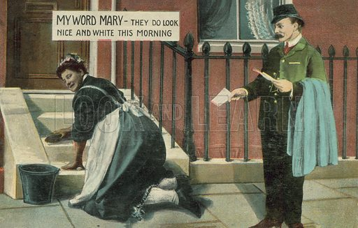 Double entendre: postman watching a housmaid cleaning the steps of a house. Postcard, early 20th century.