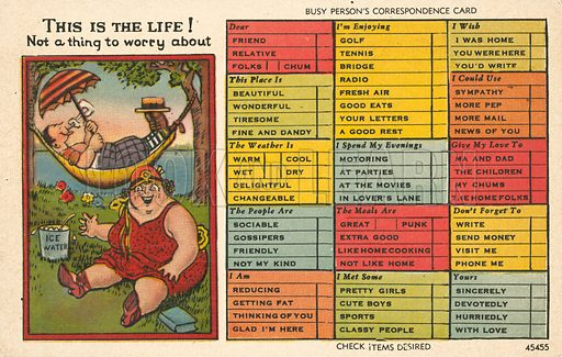 Postcard for lazy people. Postcard, early 20th century.