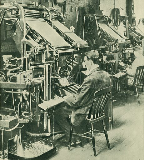 Linotype printing machines. Illustration from The Wonder Book of Machinery (Ward, Lock & Co Ltd, London and Melbourne).