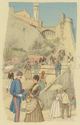 People walking on the Grand Staircase at the Royal Palace, Monaco. Illustration for Aux Rives D'Or by Mars (E Plon, Nourrit, c 1889). Illustrations of life on the Mediterranean coast between Marseilles and Genoa.