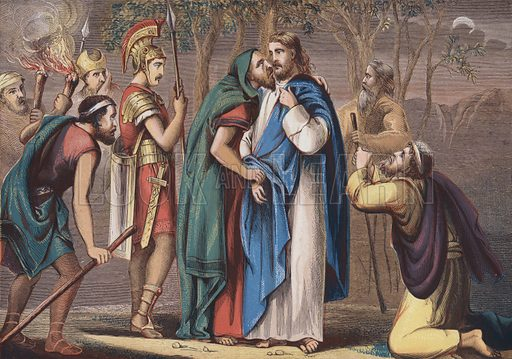 Judas betraying Christ. Illustration for Altar of the Household (London Printing and Publishing Company, c 1880).