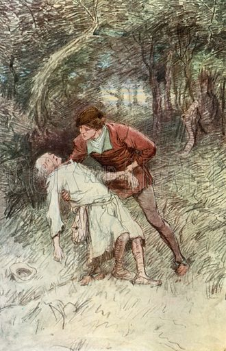 Act II, Scene VI. Adam. Dear master, I can go no further: O, I die for food! Illustration for Shakespeare's As You Like It (Hodder and Stoughton, c 1910).