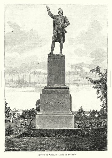 Statue of Captain Cook at Sydney. Illustration for Australian Pictures Drawn With Pen and Pencil by Howard Willoughby (Religious Tract Society, 1886).