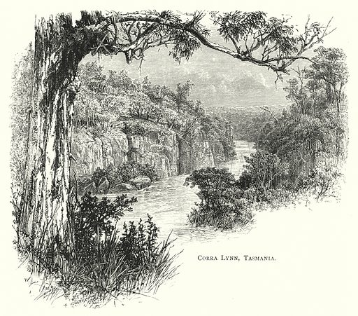 Corra Lynn, Tasmania. Illustration for Australian Pictures Drawn With Pen and Pencil by Howard Willoughby (Religious Tract Society, 1886).