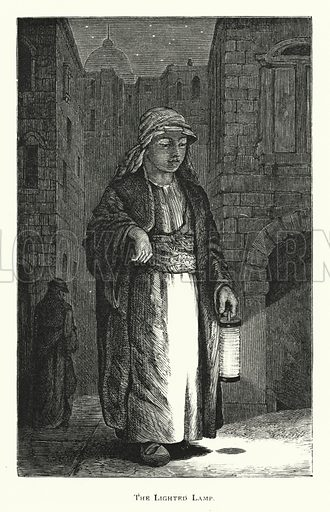 The Lighted Lamp. Illustration for Bible Images, A Book for the Young by James Wells (James Nisbet, 1882).