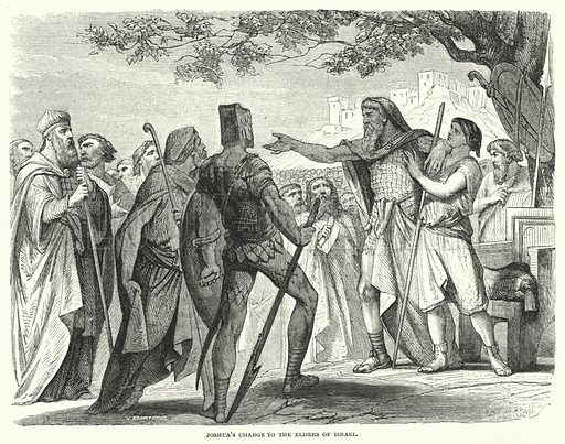 Joshua's Charge to the Elders of Israel. Illustration for Cassell's Illustrated Family Bible Superior Edition (Cassell, Petter and Galpin, c 1880).  Old Testament.