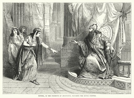 Esther, in the Presence of Ahasuerus, touching the Royal Sceptre. Illustration for Cassell