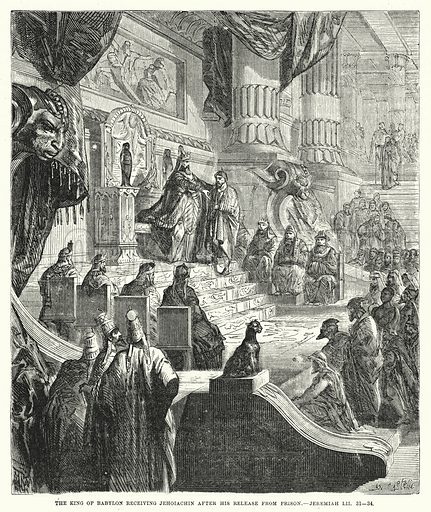 The King of Babylon receiving Jehoiachin after his Release from Prison, Jeremiah LII, 31–34. Illustration for Cassell's Illustrated Family Bible Superior Edition (Cassell, Petter and Galpin, c 1880). Old Testament.