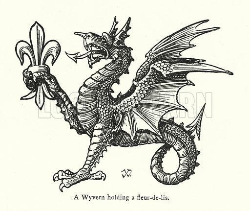 A Wyvern holding a fleur-de-lis. Illustration for Fictitious and Symbolic Creatures in Art by John Vinycomb Chapman and Hall, 1906).