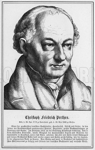 Christoph Friedrich Perthes. Illustration for Zweihundert Bildnisse und Lebensabrisse beruhmter deutscher Manner (Wigand, 1870).