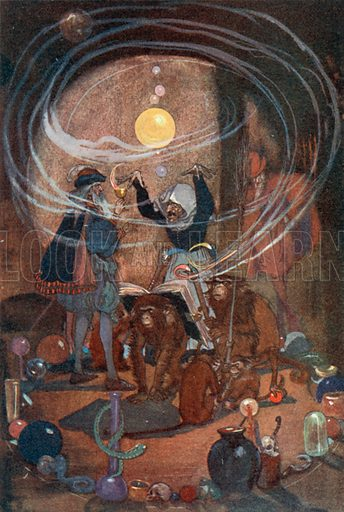 Faust drinks the Magic Potion. Illustration for Faust by Goethe translated by Abraham Hayward (Hutchinson, c 1908).
