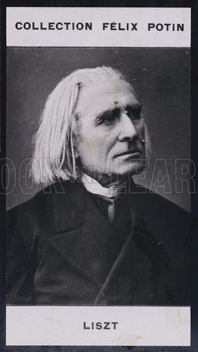 Franz Liszt (1811–1886). Illustration for 500 Celebrites Contemporaines, Felix Potin (first series). Only suitable for repro at small size.