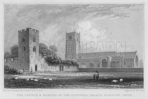 The Church and Remains of the Episcopal Palace, Paignton, Devon. Illustration for The History of Devonshire by Thomas Moore illustrated by a series of views drawn and engraved under the direction of William Deeble (Robert Jennings, 1829).
