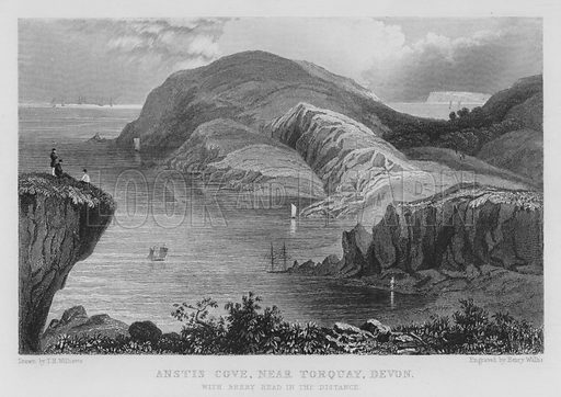 Anstis Cove, near Torquay, Devon, with Berry Head in the distance. Illustration for The History of Devonshire by Thomas Moore illustrated by a series of views drawn and engraved under the direction of William Deeble (Robert Jennings, 1829).