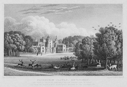 Powderham Castle, Devonshire. The Seat of the Right Honourable William Courtney, Earl of Devon, to whom this Plate is most respectfully inscribed by the Proprietors. Illustration for The History of Devonshire by Thomas Moore illustrated by a series of views drawn and engraved under the direction of William Deeble (Robert Jennings, 1829).